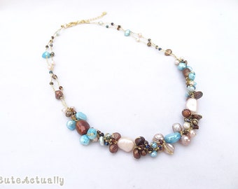 Blue brown peach freshwater pearl necklace with glass beads on gold silk thread, blue brown necklace