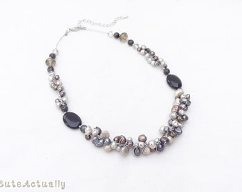 Gray black freshwater pearl necklace with stone, crystal on silk thread, black necklace, silver, gray