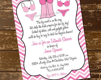 Lingerie Shower Invitation, Intimate Shower, Bachelorette Party, Pink Chevron, Girls Night - Digital File