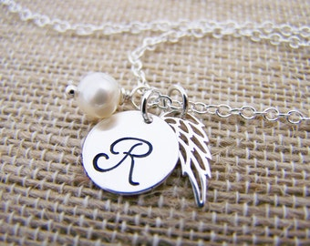 Bridesmaid Necklace Gift Angel Wing Personalized Initial Sterling Silver Wedding Necklace / Gift for Her