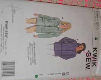 Kwik Sew 2719 Misses Shirt Jackets Sewing Pattern - UNCUT - Sizes Xs S M L XL