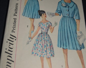 Vintage 60s Simplicity 3394 Junior and Misses One Piece Dress and Jacket Sewing Pattern - Size 11 Bust 31 1/2