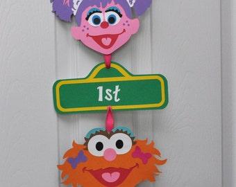 Girly Sesame Street Birthday Party Door Sign