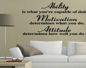 Ability is what you're capable of doing Motivational Wall Quote Wall Decal Sticker Inspirational Vinyl Quote Wall Art (45)
