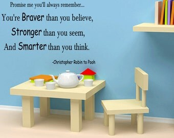 Wall Quotes You're Braver Than You Believe Vinyl Wall Decal Quote Removable Wall Sticker Home Decor (B90)