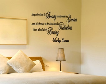 Imperfection is Beauty Marilyn Monroe - Vinyl Sticker Wall Quote Decal Home Words Removable Lettering (C70)