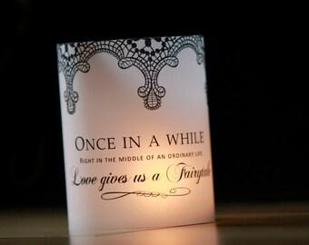 Lace Wedding Table Decor, Fairytale Decor Luminary, Wedding Luminaries, Black and White Wedding, Wedding Centerpieces- set of 10 Luminaries