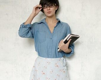 VTG 90s light blue and rust floral skirt