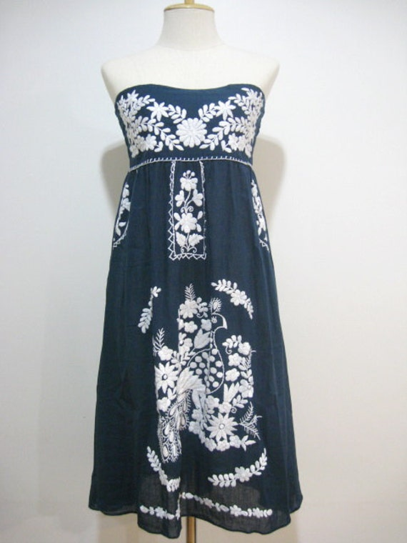 Mexican Embroidery Sundress Cotton Strapless Dress With Lining, Boho Dress