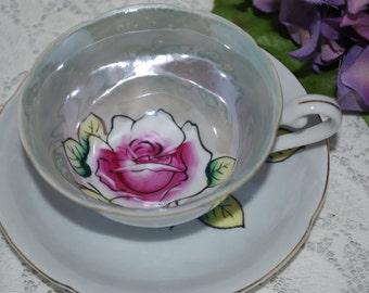 JAPAN Vintage Teacup and Saucer /Pink Rose / Lusterware /Shabby Chic Treasure