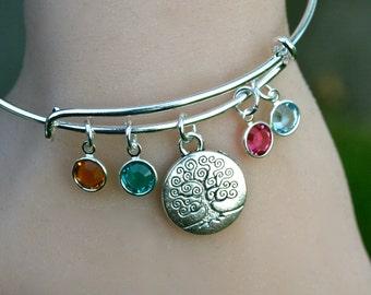 Tree Of Life Family Tree - Family Charm Bracelet - Swarovski Birthstones - Gift for Mom - Mother - Grandmother - Auntie Gift R24