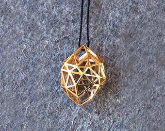 Gold geometric Pendant Rough Diamond (3D printed)