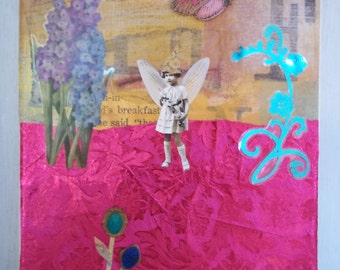Original Mixed Media Art Collage Fairy Garden