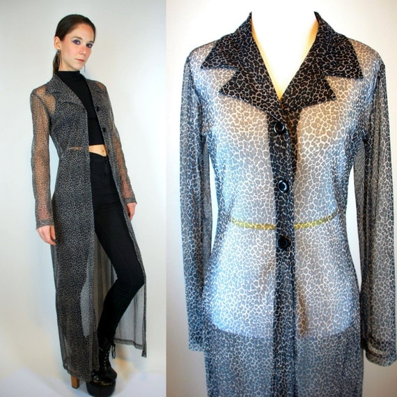 SHEER Leopard Print DUSTER Jacket. Vintage 90s by BluegrassVoodoo