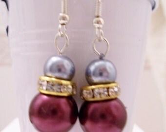 CLEARANCE - Burgundy soft blue pearl earrings - burgundy/powder blue pearl beaded earrings - Swarovski banded earrings - burgundy earrings