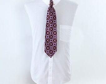 Vintage Purple Brown Checked Mens Rhodia Brand Necktie Preppy