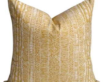 Ethnic Vibes Pillow Cover in Amber - Same Fabric BOTH Sides - INVISIBLE Zipper- 18x18, 20x20, 22x22 and lumbar sizes -