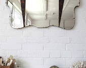 Vintage Large Bevelled Edge Wall Mirror with Lovely Chinese Wooden Details