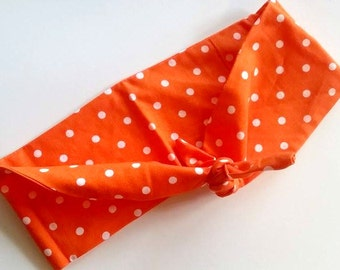 Orange and White Polka Dot Hair Bandana