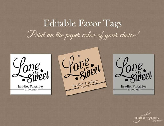 ... Tags // DIY Printable Wedding Favor Tags, Wedding Favour Tag // DIY