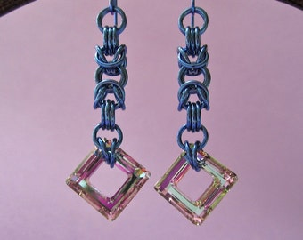 Handmade Sapphire Niobium Chainmaille Byzantine Earrings with Swarovski Cosmic Square Crystal Dangle