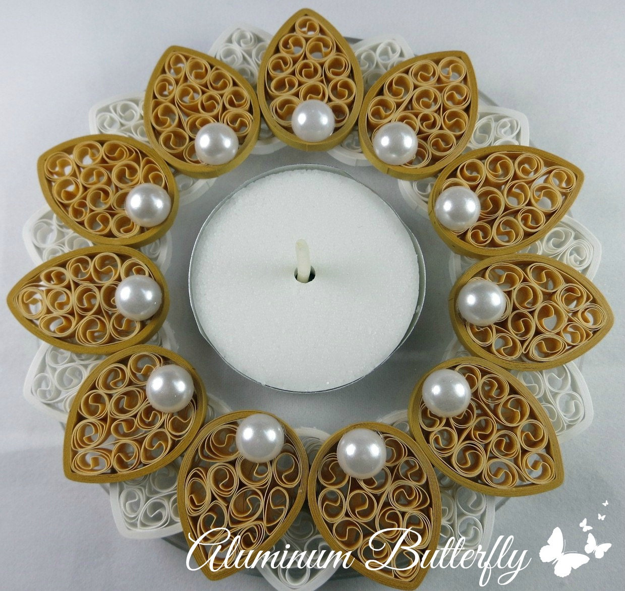 Quilling Home Decor Quilled Candle Holder Floral Candle Centerpiece Wedding Decor