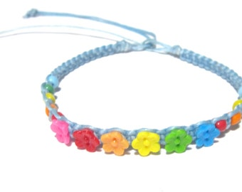 Multicolor Flower Bracelet - Baby Blue Bracelet - Sky Blue Bracelet  - Rainbow Colors - Hawaiian Flower Bracelet