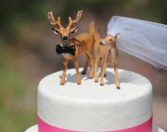 Deer Wedding Cake Topper - Mr & Mrs Deer - Bride and Groom - Rustic Country Chic Wedding