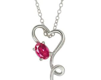 0.50 Carat Pink Sapphire Oval Heart Shape Pendant .925 Sterling Silver Rhodium Finish