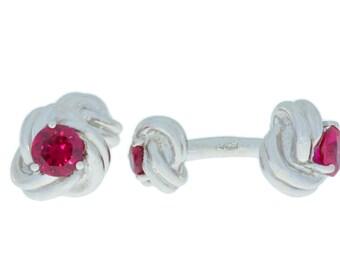 2.5 Ct Ruby Knot Cufflinks .925 Sterling Silver Rhodium Finish