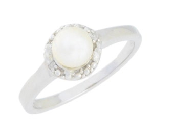 White Freshwater Pearl & Diamond Round Ring .925 Sterling Silver Rhodium Finish