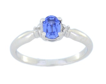 0.50 Ct Tanzanite & Diamond Oval Ring .925 Sterling Silver Rhodium Finish