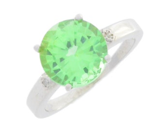 3.5 Ct Green Sapphire & Diamond Round Ring .925 Sterling Silver Rhodium Finish