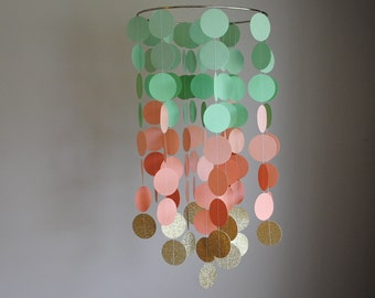 Mint Green, Peach, Gold Chandelier Mobile // Nursery Mobile - Choose Your Colors