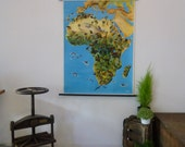 Vintage Map of Africa Wildlife - Flora and Fauna Africa Map School Chart - Made in Germany - Mid-century