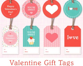 Schön Printable Valentine Gift Tags   Set Of 8 Valentineu0027s Day Gift Labels    Instant Download