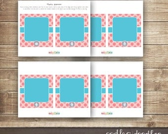 1st Birthday Photo Banner / First Year Photo Banner / Girl's First Birthday Banner /  First Year Milestones  / Pink & Turquoise  - Printable