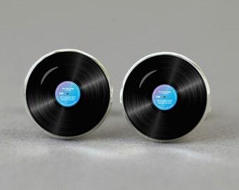 Vinyl disc cufflinks Music cuff links men gift  fan women