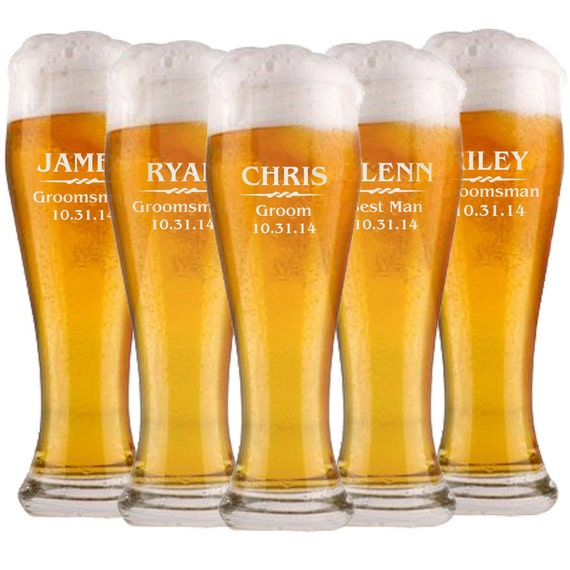 Customized Wedding Beer Glasses : Custom Beer Glasses, Wedding Party Favors, Groomsmen Gifts, Will you ...