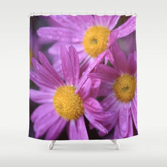flower shower curtain purple flowers by shelleyscrochetole