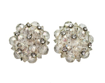Vintage Clear Beaded Iridescent Cluster Earrings with Rhinestones