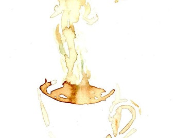 Popular items for coffee watercolor on etsy for Coffee watercolor
