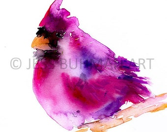 Cardinal Watercolor Print, Abstract Cardinal Art, Cardinal Painting, Cardinal Illustration, Red Bird Art, Fine Art Bird, Print of Bird