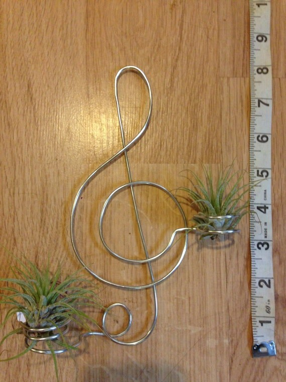 Treble clef air plant wall hanger copy by beadsnleaves on etsy for Air plant wall hanger