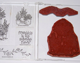 Stampin' Up Friendship Gardens Clear Mount Rubber Stamp Set - Gently Used  - Retired - Rare - Card Making - Scrapbooking - Flowers - Gardens