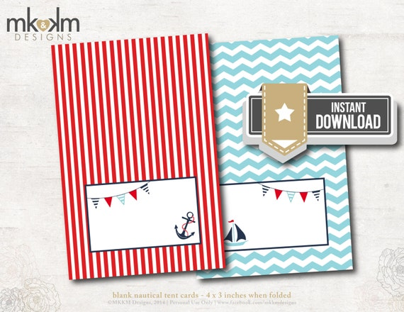 ahoy it 39 s a boy baby shower nautical tent cards place cards party