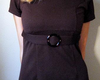 60s Mod Mad Men Belted Vintage Chocolate Brown Dress