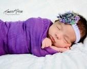 Purple Peacock Shabby Chic Headband..Newborn Headband..Baby Girl Headband..Headband..Infant Headband..Baby Headband.Flower Headband