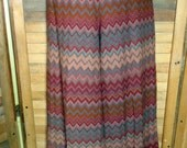 Reserved for Katie * Vintage Wide Leg Trousers Bell Bottom Zig Zag Chevron High Waist Earth Tones 70s W26