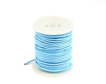 2mm Leather Cord, Light Blue Genuine Leather Cord, Round Leather Cord, Pkg of 30 ft., D0F6.LB54.L30F